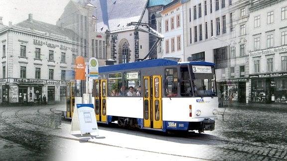 Fotomontage: Demianiplatz in Görlitz, links und rechts Aufnahme von 1912, in der Mitte aktuelles Bild mit Straßenbhan
