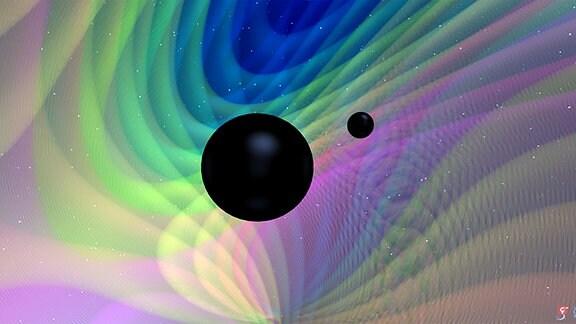 Comozergrafik, die zwei schwarze Kreise zeigt. Binäre Verschmelzung Schwarzer Löcher, bei der die beiden Schwarzen Löcher deutlich unterschiedliche Massen haben, die etwa das 8- bis 30-fache der Masse unserer Sonne betragen
