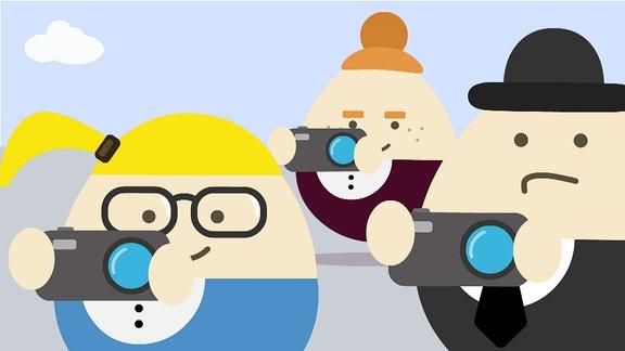 Illustration - Drei Eiförmige gezeichnete Menschen machen Fotos.