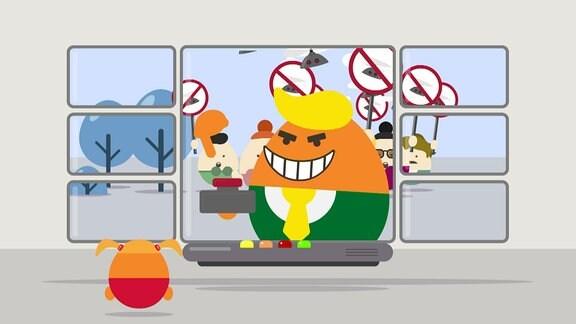 Illustration zum Artikel Acht - Ein Fernseher mit Eiförmigen Figuren die protestieren.