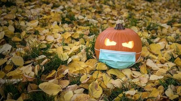 Ein Kürbis mit einem Mundschutz liegt im Herbstlaub.