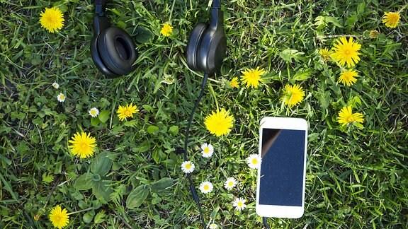 Handy und Kopfhörer