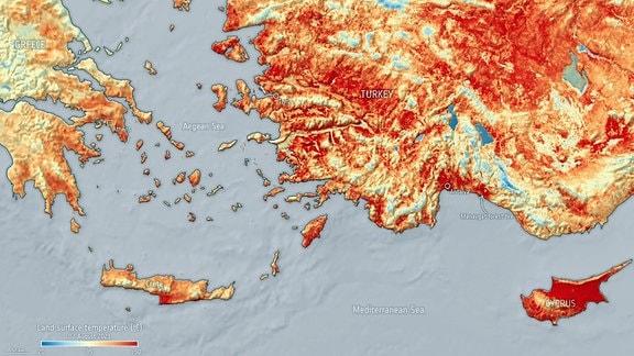 Karte zeigt Teile Griechendlands und der Türkei sowie die Insel Typern im östlichen Mittelmeer. Besonders auf Zypern und in der Türkei viele Bereiche rot gefärbt.
