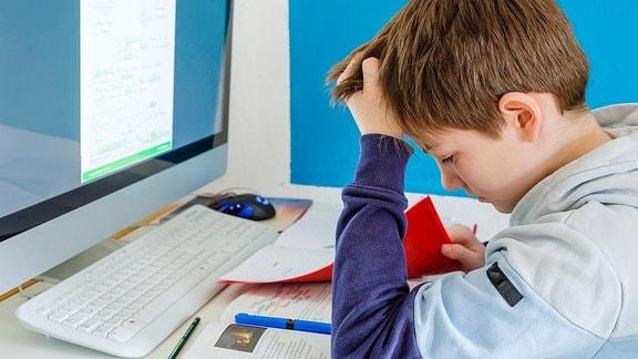 Ein Schüler sitzt vor einem Computer