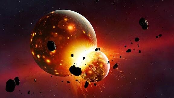 Impakt von Protoplanet Theia auf Protoerde Gaia