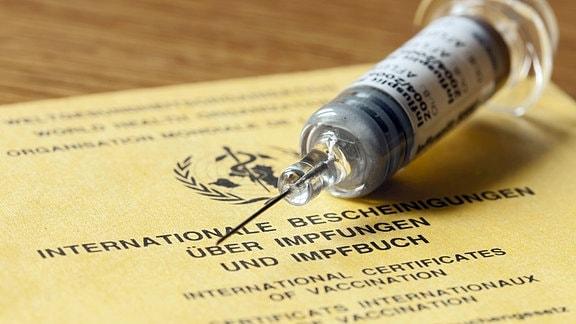 Spritze auf einem internationalen Impfpass