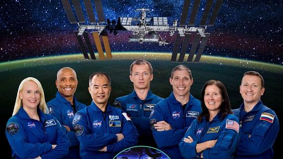 Die sieben Teilnehmenden der 64. ISS Expedition.