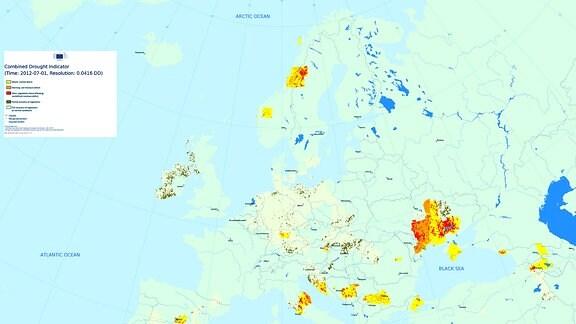 Dürre Jahresvergleich Juli 2012