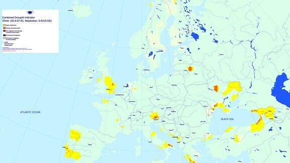 Dürre Jahresvergleich Juli 2013