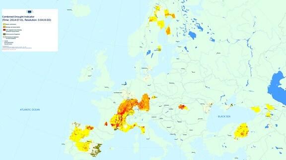 Dürre Jahresvergleich Juli 2014