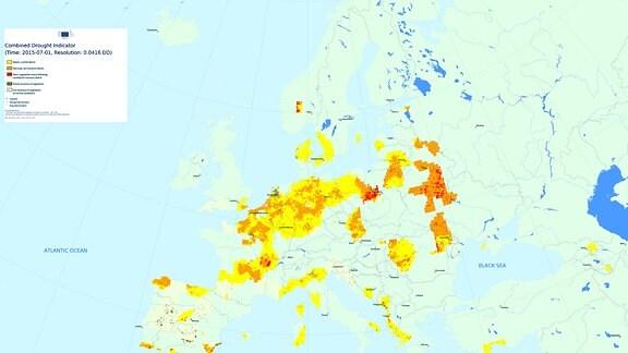 Dürre Jahresvergleich Juli 2015