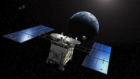 Eine künstlerische Darstellung der Raumsonde Hayabusa 2, wie sie auf dem Rückweg zur Erde ist. Es handelt sich um eine Raumsonde der japanischen Raumfahrtbehörde JAXA, die eine Asteroidenprobe vom erdnahen Astroiden Ryugu einsammelte.