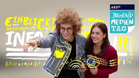 Zwei junge Menschen, die zum ARD-Jugendmedientag einladen