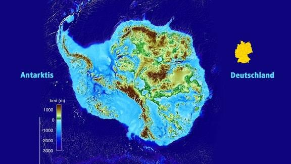 Karte Antarktis und Größenvergleich