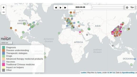 Vorschaubild auf eine interaktive Karte der Universität Heidelberg, die zeigt, wo überall auf der Welt geforscht wird, um die Coronakrise zu lösen.