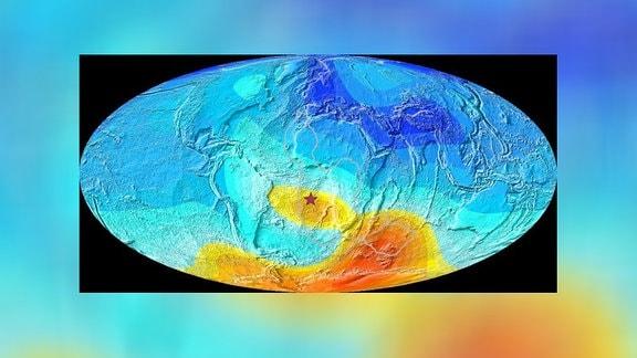 Karte der Erde mit Magnetfeld-Abweichungen