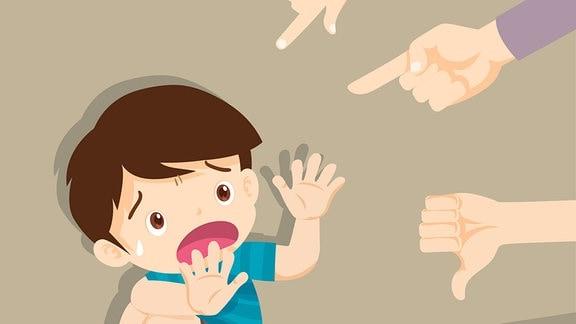 Zeichnung - Ein Kind hockt am Boden un hat Angst. Finger und Hände zeigen auf das Kind.