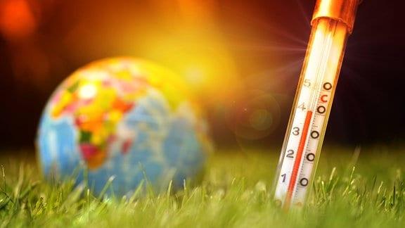 Fieberthermometer im Boden und Erdkugel, Symbolfoto Klimaerwärmung