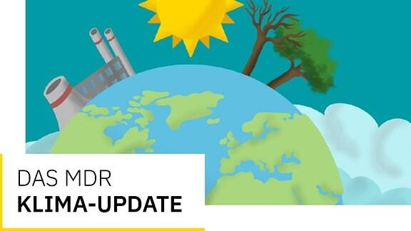 Eine Grafik zeigt die Erde, auf der ein Kraftwerk, eine Sonne und zwei Bäume zu sehen sind.