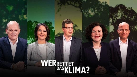 Bildcollage, von links nach rechts: Olaf Scholz (SPD), Annalena Baerbock (Die Grünen), Lukas Köhler (FDP), Amira Mohamed Ali (Die Linke), Ralph Brinkhaus (CDU)