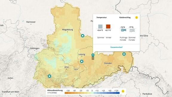 Vorschaubild auf die interkative Klimakarte Mitteldeutschlands: Zu sehen ist eine Ansicht, die zeigt, dass die Sommer um das Jahr 2075 herum sehr heiß und trocken werden könnten, wenn der Klimaschutz nicht gelingt.