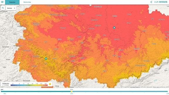 Eine Vorschau auf die Klimakarte die die Durschnittstemperatur im Sommer 2018 in Thüringen zeigt.