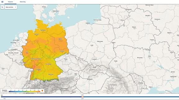 Ansicht der interaktiven Klimakarte von MDR WISSEN mit bundesweiten Daten.