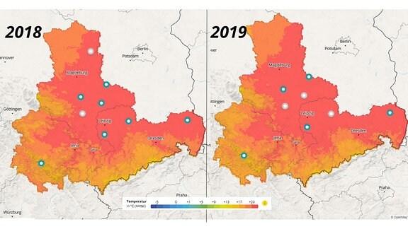 Ausschnitte der interaktiven Klimakarte Mitteldeutschland, auf der die Sommer 2018 und 2019 verglichen werden.
