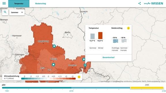 Eine Vorschau auf die interaktive Klimakarte Mitteldeutschlands