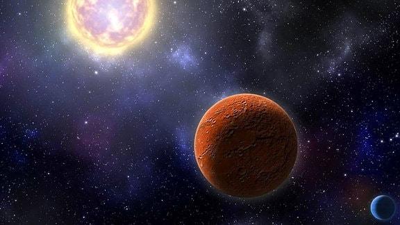 Künstler-Konzept des erdähnlichen Exoplaneten HD 21749c