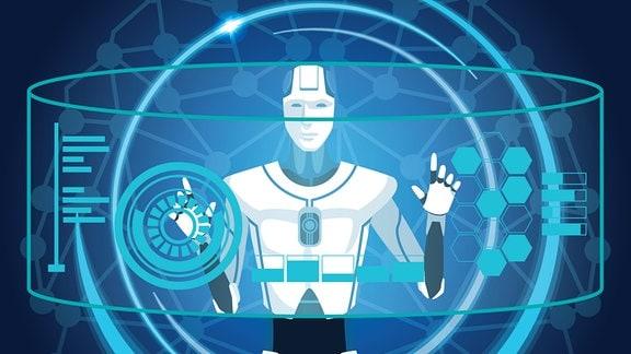 Illustration Künstliche Intelligenz - Roboter und wissenschaftliche Symbole