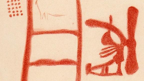 Skizze eines roten Symbols auf der Höhlenwand