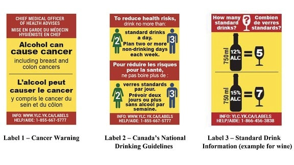 Label mit Alkoholwarnung