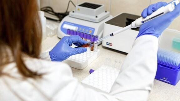 Eine Wissenschaftlerin arbeitet in einem Labor
