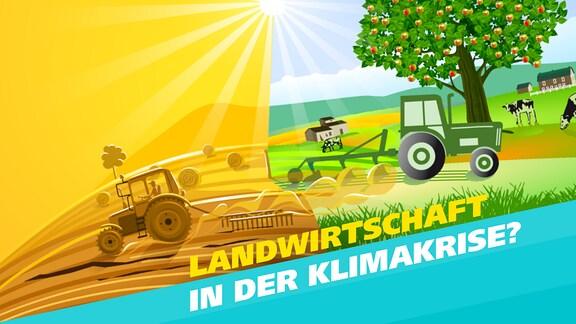 """In zwei Hälften geteiltes Bild: Auf der linken Seite bearbeitet ein Bauer auf einem Traktor ein ausgetrocknetes, gelb-braunes Feld, auf der rechten fruchtbaren grünen Boden. Schrift: """"Landwirstchaft in der Klimakrise?"""""""