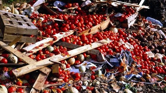 Abfallhaufen mit Tomaten