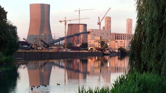 Aussenansich Kraftwerk Hamm während Bauarbeiten.