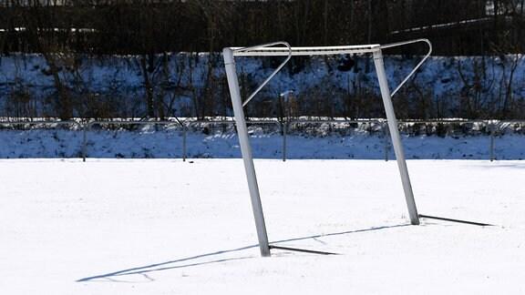 Einsames, etwas krumes Fußballtor ohne Netz im Schnee, im Hintergrund Gebüsch