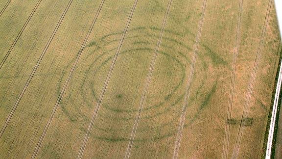 Kreisgrabenanlagen aus der stichbandkeramischen Zeit (um 4.600 vor Christus) in Kyhna, Landkreis Nordsachsen (Aufnahme vom 19. Juni 2018)