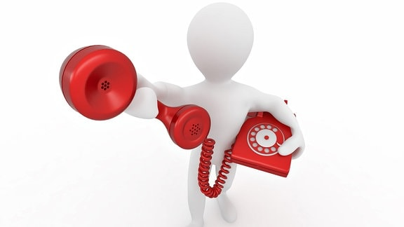 Weiße Figur hält rotes Telefon vor weißem Hintergrund
