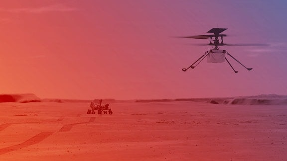 Die Illusitartio zeitgt den Flugt eines kleinen Helikopters auf dem Mars