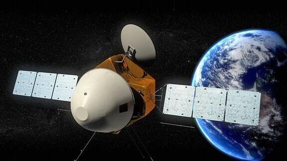Animation einer Sonde für eine unbemannte Marsmission