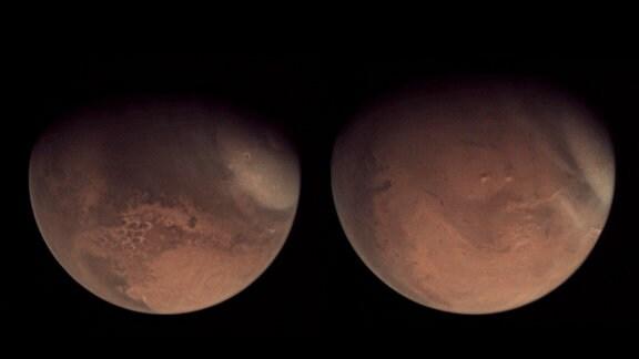 Zwei Bilder des Mars von Anfang Februar 2021