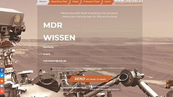 Bild einer Webseite, auf der man sich für den virtuellen Flug zum Mars eintragen kann
