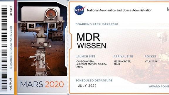 Eine Boardkarte für den virtuellen Flug zum Mars