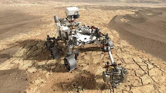 Ein Roboterfahrzeug auf dem Mars.