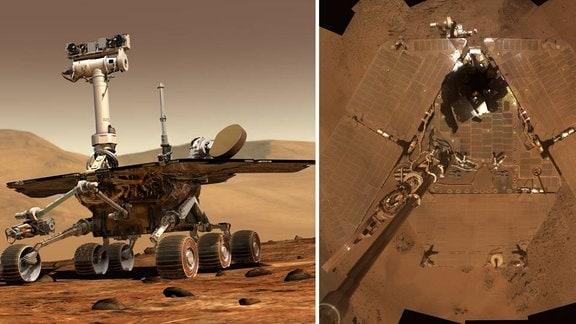 """Links: Künstlerische Darstellung des Marsrovers Opportunity. Rechts ein """"Selfie"""": Die Sonde hat sich von ihrem Kameraarm aus selbst fotografiert. Wir schauen herab auf die Solarzellen, die mit feinem Marsstaub bedeckt sind."""
