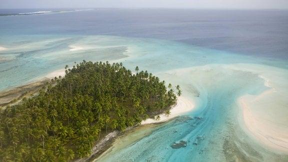 Luftaufnahme einer Insel der Marshallinseln