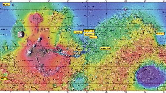 Eine Karte des Planeten zeigt die Landestellen der Marsmissionen