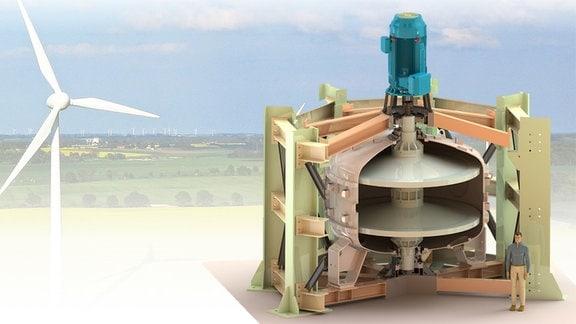 Teilschnittdarstellung der Konstruktion des Rotationskinetischen Speichers mit Mensch als Bezugsgröße